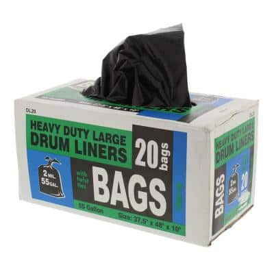 55 Gal. Heavy-Duty Drum Liner Trash Bags with Twist Ties (20-Count)