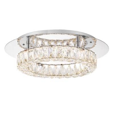 17.5 in. Dia x 4.7 in. H Round Galaxy 1-Light Integrated LED Chrome and Clear Crystal Flush Mount Ceiling Light