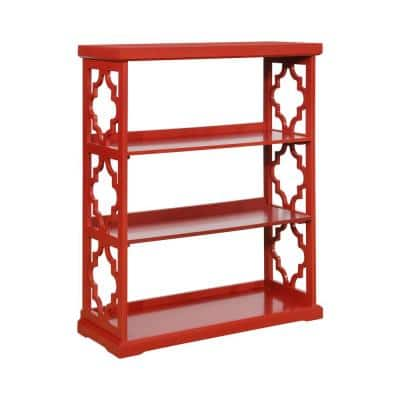 Carson  48 in. Red Wood 3-shelf Standard Bookcase with Open Back