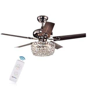 Angel 43 in. Chrome Indoor Remote Controlled Ceiling Fan with Light Kit