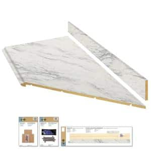 8 ft. White Laminate Countertop Kit With Right Miter and Full Wrap Ogee Edge in Calcutta Marble