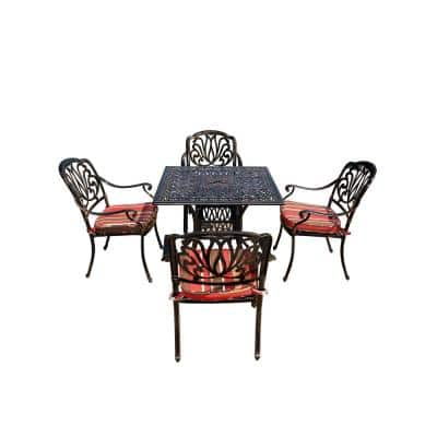 Jade 5-Piece Aluminum Outdoor Patio Dining Set with Red Cushions