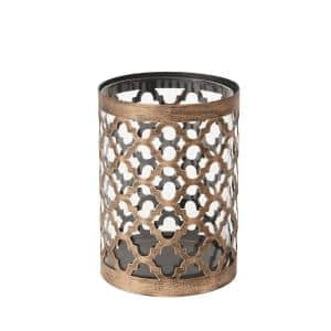 7.6 in. Brown Metal and Glass Outdoor Patio Candle Holder