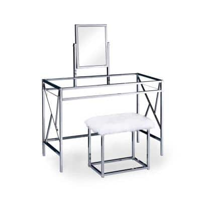 Helaine Contemporary 2-Piece in Chrome Metal Vanity and Stool Set