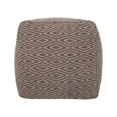 Boven Dark Grey and Brown Fabric Cube Pouf