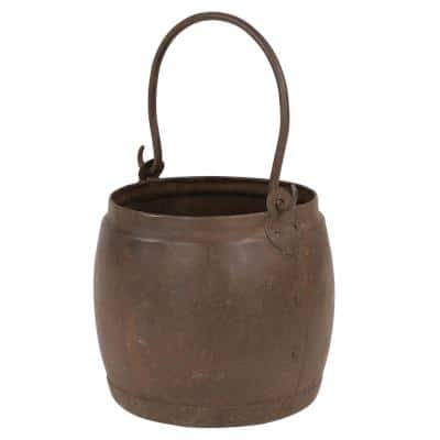7 in. x 7 in. Antique Iron Style Welded Water Pot with Detachable Handle from India