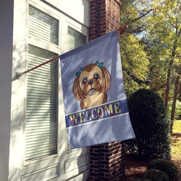 Caroline S Treasures 28 In X 40 In Polyester Chocolate Brown Shih Tzu Welcome Flag Canvas House Size 2 Sided Heavyweight Bb1435chf The Home Depot