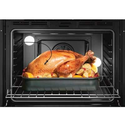 800 Series 30 in. Double Electric Wall Oven with European Convection in Black Stainless Steel with Self Clean