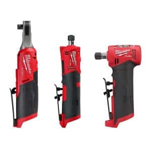 M12 FUEL 12-Volt Lithium-Ion High Speed 3/8 in. Ratchet w/ (1) 1/4 in. Right Angle and (1) 1/4 in. Straight Die Grinder