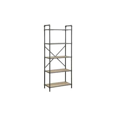 Oak Brown and Gray 5-Tier Metal with Wooden Shelves Bookshelf