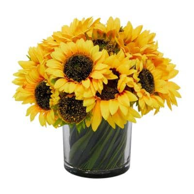 14 in. L x 14 in. H Sunflowers in Glass Vase with Acrylic Water and Grass