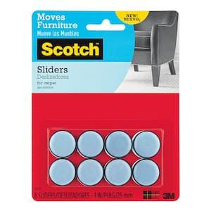 Scotch 1 in. Gray/Black Round Self-Stick Permanent Furniture Sliders (8-Pack)