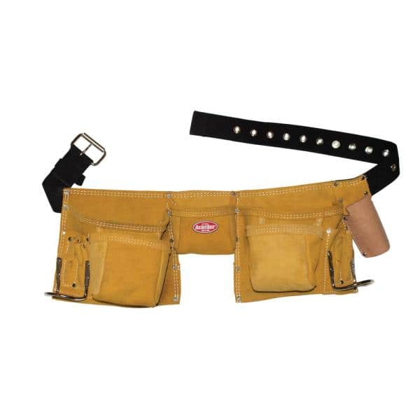 Bucket Boss 11 Pocket Suede Leather Carpenter Apron 55149 The Home Depot