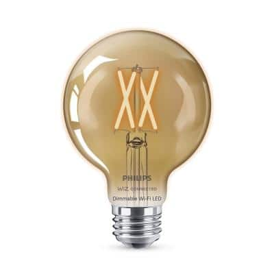Amber G25 LED 40W Equivalent Dimmable Smart Wi-Fi Wiz Connected Wireless Light Bulb