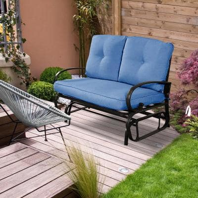 1-Piece Metal Outdoor Loveseat with Blue Cushion Glider
