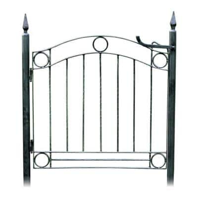 77 in. Tall Black Powder Coat Iron Classic Country Cottage Garden Gate