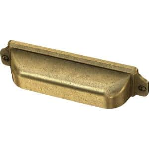 Awning 3 in. or 3-3/4 in. (76 mm or 96 mm) Vintage Brass Dual Mount Cup Drawer Pull