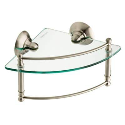 8 in. W Glass Corner Shelf with Hand Towel Bar in Brushed Nickel