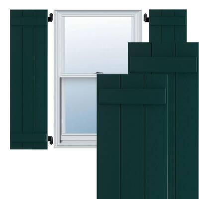 "16 1/8"" x 49"" True Fit PVC Three Board Joined Board-n-Batten Shutters, Thermal Green (Per Pair)"