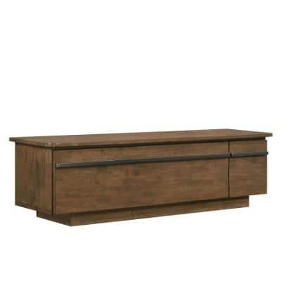 Binah 59 in. Light Walnut Wood TV Stand with 2-Drawer Fits TVs Up to 66 in. with Storage Doors