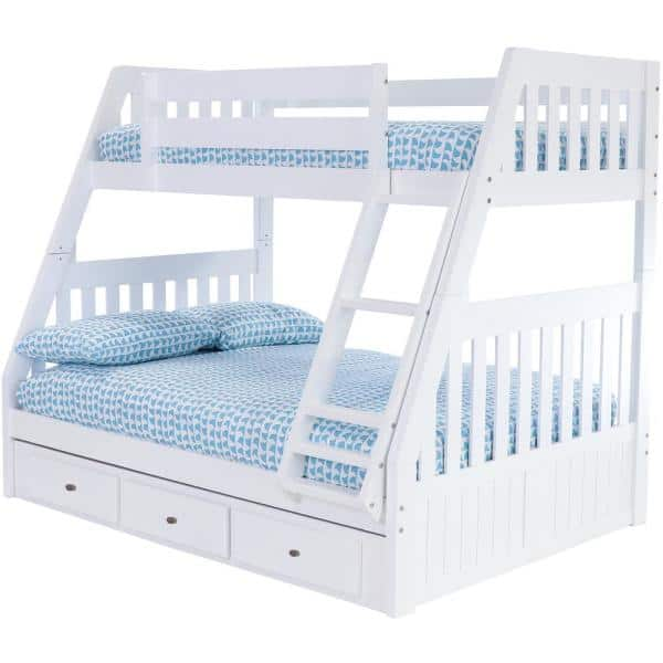 American Furniture Classics Casual White Collection White Twin OverFull Bunk Bed with 3-Underbed Drawers | The Home Depot
