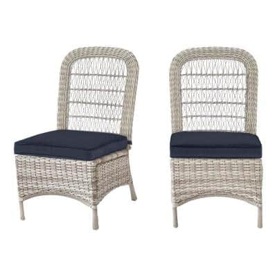 Beacon Park Gray Wicker Outdoor Patio Armless Dining Chair with CushionGuard Midnight Navy Cushions (2-Pack)
