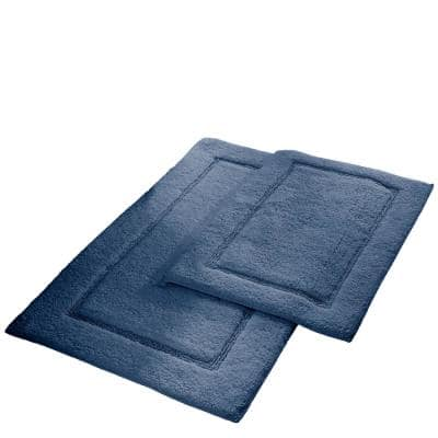 2-Pack Solid Loop Cotton 21x34 inch Bath Mat Set with non-slip backing Denim