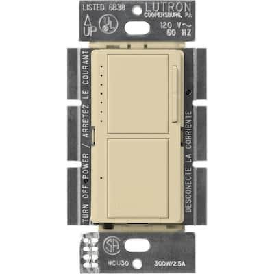 Maestro 300-Watt Single-Pole Dual Dimmer and Switch - Ivory