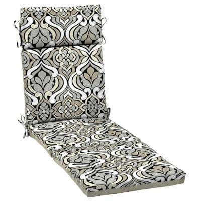DriWeave 21.5 x 72 Black and Gray Tile Outdoor Chaise Lounge Cushion