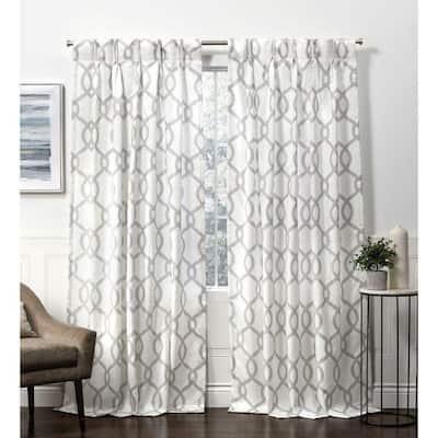 Dove Grey Trellis Pinch Pleat Room Darkening Curtain - 27 in. W x 84 in. L