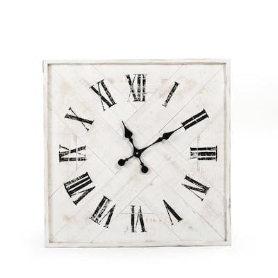Corbett Square Tray Shaped Distressed Black Roman Numeral Clock
