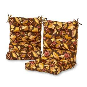 Timberland Floral Outdoor High Back Dining Chair Cushion (2-Pack)