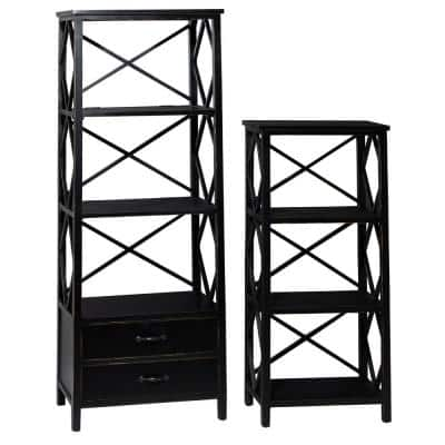 46 in. and 64 in. Black Rectangular 4-Tier Decorative Shelves with 2-Drawer Base (Set of 2)