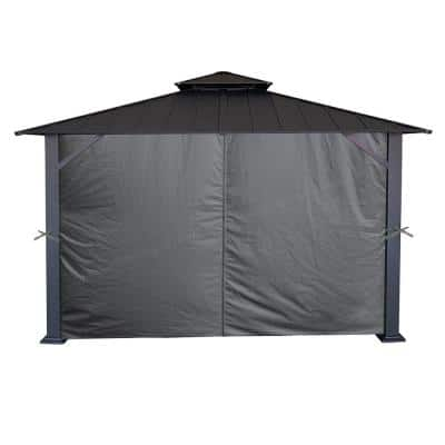 10 ft. x 12 ft. Grey Universal Privacy Curtain for Gazebo (4-Sides Curtain Only)