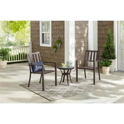 Mix and Match Dark Taupe Steel Stackable Slat Outdoor Dining Chairs (2-Pack)
