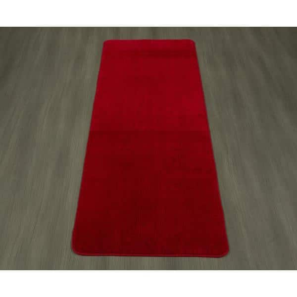 Ottomanson Solid Design Red 2 Ft 2 In X 8 Ft Non Slip Bathroom Rug Runner Sft870010 2x8 The Home Depot