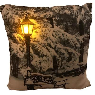 20 in. Luminous LED Snowy Park Pillow