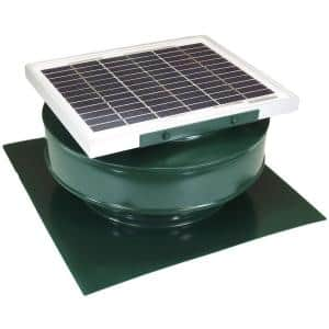 365 CFM Green Powder Coated 5-Watt Solar Powered Roof Mounted Exhaust Attic Fan