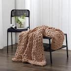 Mink Chenille Chunky Knit Throw