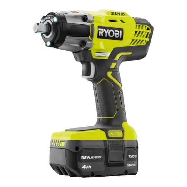 """RYOBI P261 Cordless 3 Speed 1//2/"""" Impact Wrench 18V w// 4.0 Ah Battery Charger Bag"""