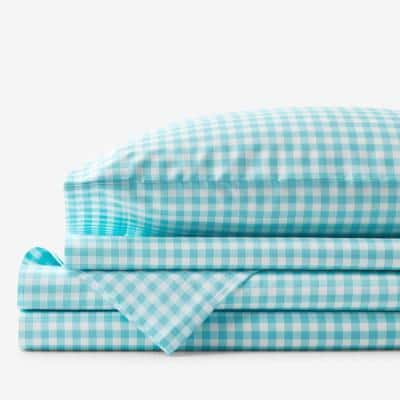 Company Kids Gingham 3-Piece Turquoise Plaid 200-Thread Count Organic Cotton Percale Twin Sheet Set
