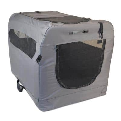 Soft Folding Grey Portable Dog Crate - Medium