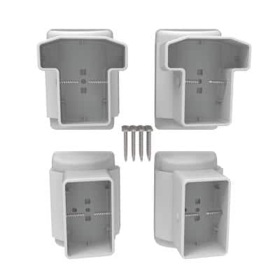 T-Top Swivel Level to Angle Bracket Set in White (2 Top and 2 Bottom Brackets)