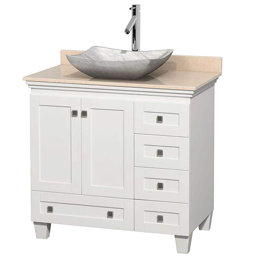 Wyndham Collection Acclaim 36 In W Vanity In White With Marble Vanity Top In Ivory And White Carrara Marble Sink Wcv800036swhivgs3mxx The Home Depot