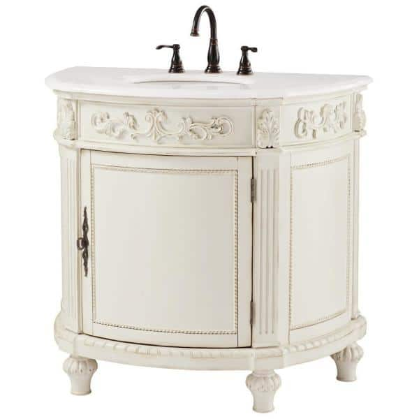 Home Decorators Collection Chelsea 37 In W Bath Vanity In Antique White With Marble Vanity Top In White 12102 Vs37j Aw The Home Depot