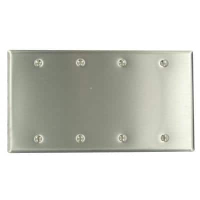 Stainless Steel 4-Gang Blank Plate Wall Plate (1-Pack)