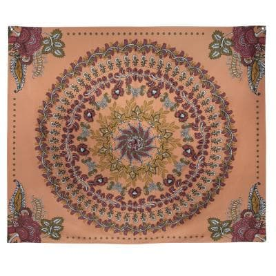 Multi Terracotta Floral Medallion Wall Tapestry