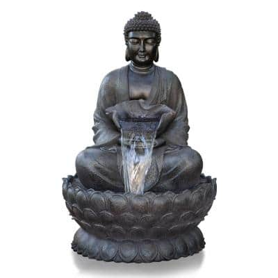 53 in. Tall Outdoor Buddha Zen Water Fountain with LED Lights