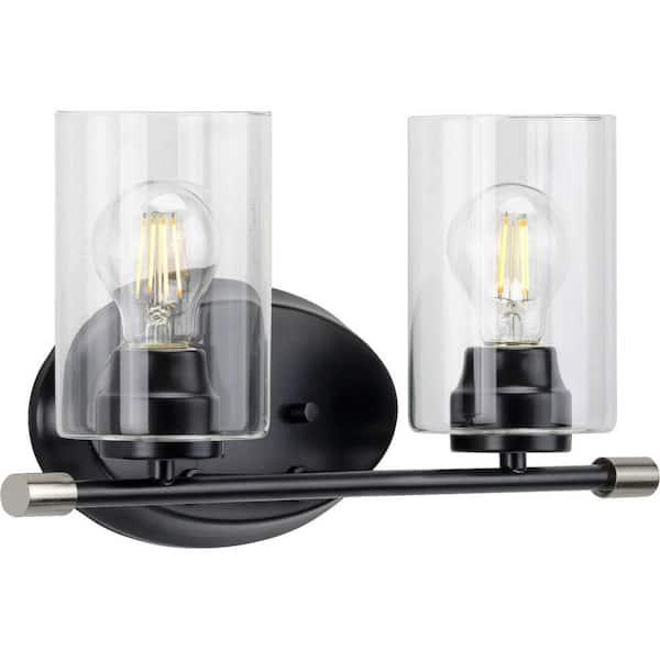 Progress Lighting Riley Collection 2, Modern Bathroom Light Fixtures Matte Black
