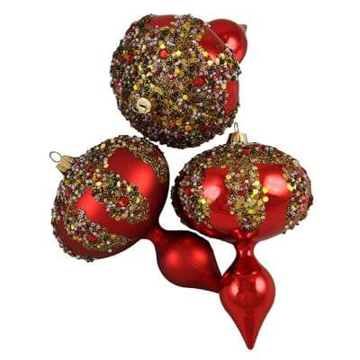 5 in. Red Glitter Sequin Beaded Shatterproof Christmas Finial Ornaments (3-Count)
